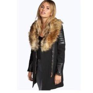 Wool/Faux leather fur jacket.